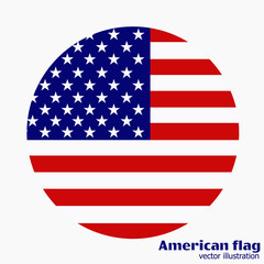 Banner with flag of America. Vector.