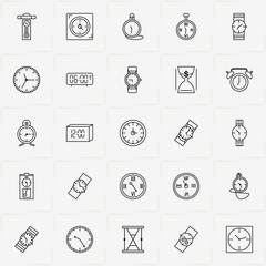 Clock line icon set with clock, pocket watch and sand watch