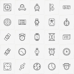 Clock line icon set with retro table watch , sand watch and clock