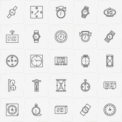 Clock line icon set with street clock , pocket watch and alarm clock