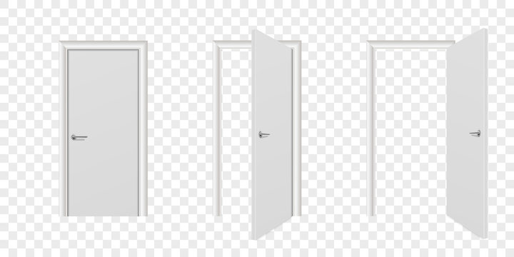 Vector Realistic Different Opened and Closed White Wooden Door Icon Set Closeup Isolated on Transparent Background. Elements of Architecture. Design Template of Modern Door for Graphics. Front View