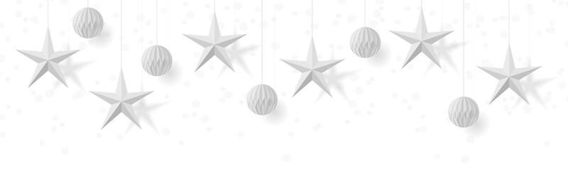 Papier Sterne Origami Ornament hängend Weihnachten Banner isoliert