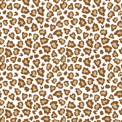 Leopard skin fur print brown seamless pattern. Great for classic animal product design, fabric, wallpaper, backgrounds, invitations, packaging design projects. Surface pattern design.