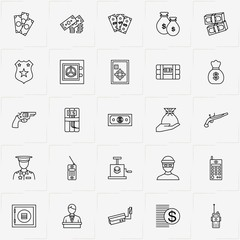 Criminal line icon set with money, portable radio  and video surveillance