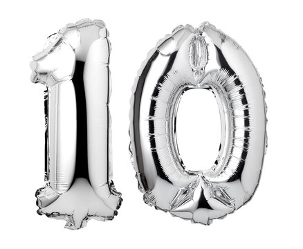 Number 10 of silver foil balloon isolated on a white background