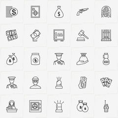 Criminal line icon set with finger print , money bag and judge hammer