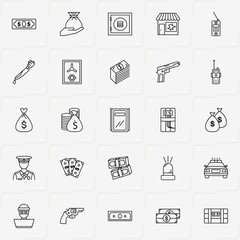 Criminal line icon set with siren, safe and dynamite