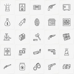 Criminal line icon set with siren, safe and revolver