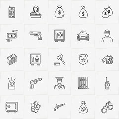 Criminal line icon set with jail , gun  and handcuffs