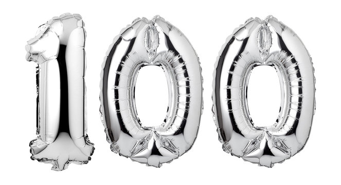 Number 100 of silver balloons isolated on a white background