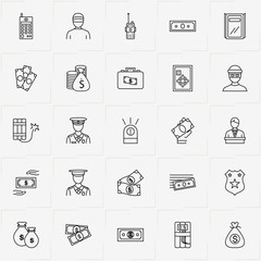 Criminal line icon set with money, portable radio  and money bag