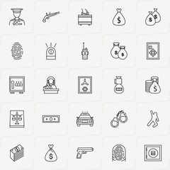 Criminal line icon set with handcuffs, money case and siren