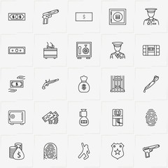 Criminal line icon set with dead body silhouette, money case and policeman