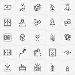 Criminal line icon set with knife criminal , justice  and dead body silhouette