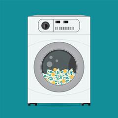 Money dollars banknotes in washing machine.