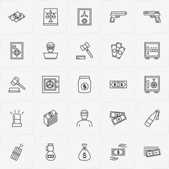 Criminal line icon set with judge hammer, money and safe