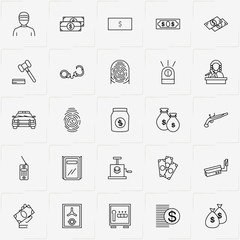 Criminal line icon set with safe, finger print  and money