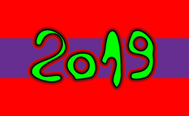 Happy New Year numbers 2019 of brush stroke isolated on red background. Vector illustration