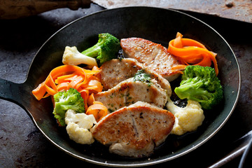 Fillet of turkey and vegetables in pan