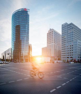 Germany, Berlin, crossroad at Potsdamer Platz at twilight