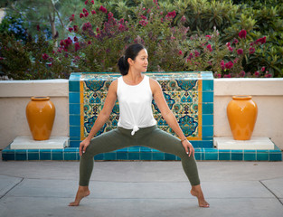 Athletic Female Instructor in a Yoga Pose