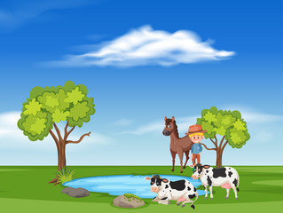 Sceen with horses and cows