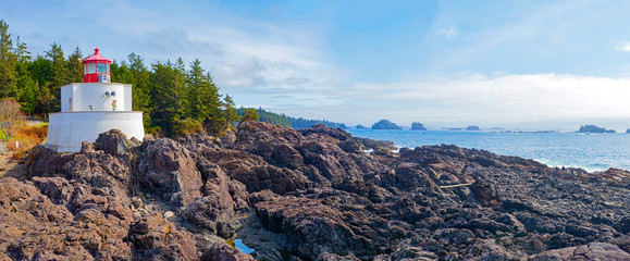 Panoramic view of the Amphitrite Lighthouse in Ucluelet, BC