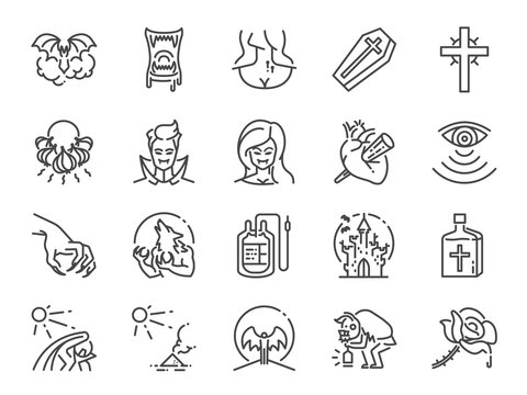 Vampire line icon set. Included icons as monster, blood, fang, undead and more.
