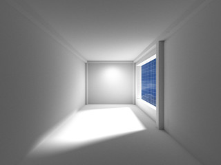 Empty room with window shadow,clipping path, 3D rendering