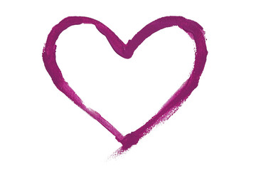 Purple color paint stroke in heart shape on background