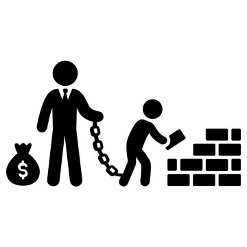 Child Forced Labour Vector Icon