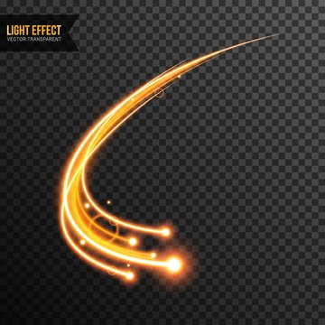 Light Effect vector transparent with line swirl and golden sparkles