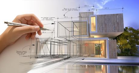 Obraz Hand sketching a designer villa with pool - fototapety do salonu