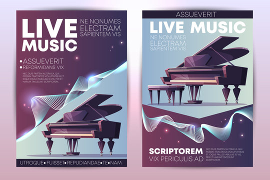 Classical or jazz music festival, symphonic orchestra live concert, piano virtuoso performance modern design promo poster, flyer cartoon vector vertical template with grand piano on stage illustration