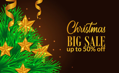 Christmas sale banner with tree illustration with its decoration for web or poster print