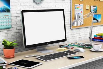 Desktop computer with blank screen in modern workspace