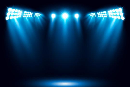 Bright stadium arena blue lighting spotlight vector illustration