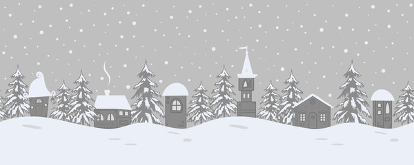Christmas background. Fairy tale winter landscape. Seamless border. There are fantastic houses and fir trees on a gray background. Vector illustration