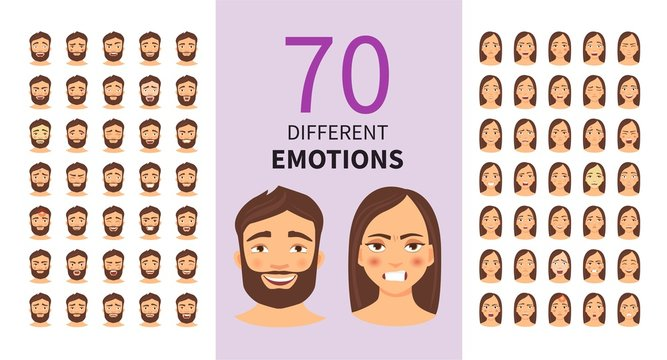 Vector set of cartoon characters with different emotions. Young man and woman.