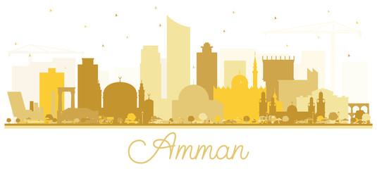 Amman Jordan Skyline Silhouette with Golden Buildings.