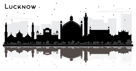 Lucknow India City Skyline Silhouette with Black Buildings and Reflections.