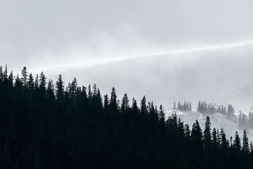 Extreme storm blows snow over North Star Mountain in Park County, Rocky Mountains, Colorado