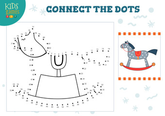 Connect the dots kids game vector illustration.
