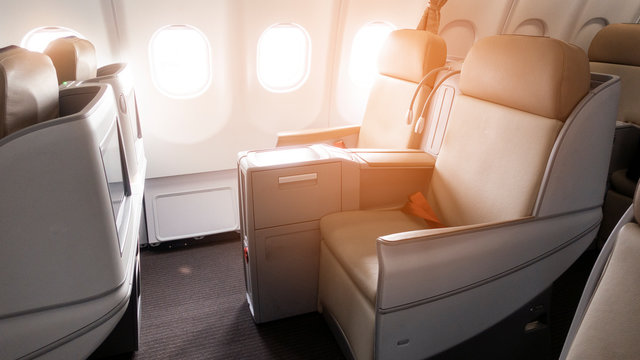 beautiful view from business class of aircraft