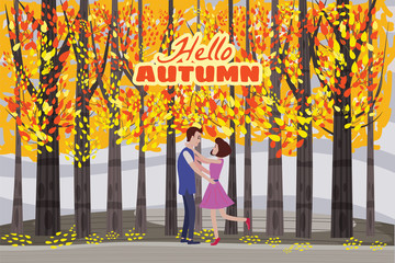 Hello autumn color illustration. Happy couple meeting and walking in park postcard design. Open air outdoor walk. Early fall landscape cartoon banner. Autumn time fire trees park. Vector