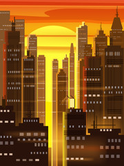 Sunset city, city scene, skyscrapers, towers, starry sky, lights, horizon, perspective, background, vector, isolated