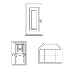 Vector design of door and front logo. Collection of door and wooden stock symbol for web.