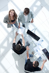 High angle view of businessmen at table in office