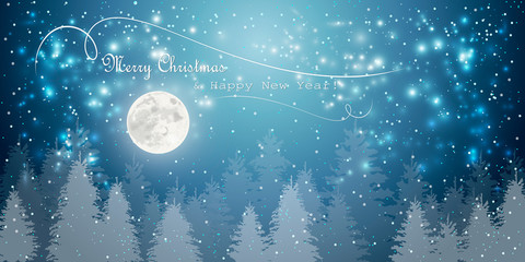 merry christmas happy new year  winter holidays full moon  fir tree forest landscape background snowfall horizontal greeting card flat vector illustration