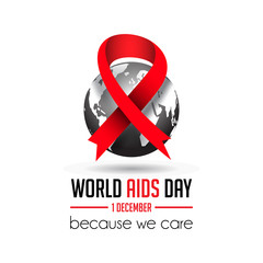 world aids day poster illustration with realistic red ribbon